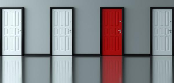 Three white doors. One red door.